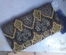 NWT ZARA Beaded Bronze, Brown, Black & Gold Clutch Wallet Bag