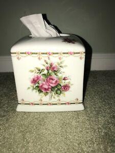 """Tissue Box Square Ceramic hand painted Floral  Liette """"EUC"""""""