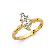 1 Ct Marquise Solitaire Engagement Wedding Promise Ring Real 14K Yellow Gold