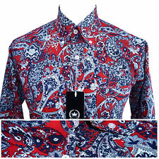 Relco Mens Paisley Print Long Sleeved Button Down Collar Shirt Vintage Retro Mod Red 3xl