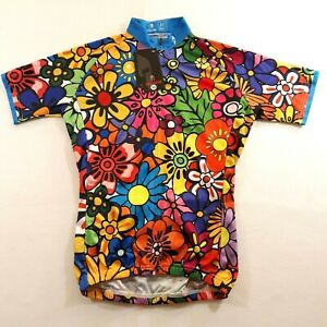 Paladin Girls Size Medium Floral Multicolor Cycling Biking Jersey Full Zip NEW