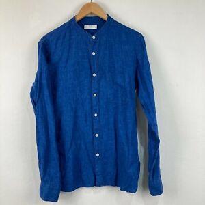 Uniqlo Mens Linen Button Up Shirt Size M Medium Blue Long Sleeve