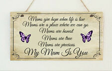 Beautiful Shabby Mum Mam Mom Mummy Butterfly Sign Plaque Chic Gift Mothers Day