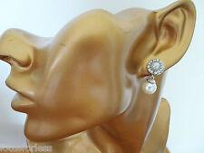 Dainty Silver Faux Pearl and Diamante Dangle Earrings in Silver Tone 2.3 cm drop