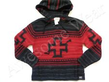 New Ralph Lauren Denim & Supply Red Black Knit Wool Blend Hooded Sweater sz S