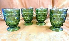 4 Indiana~Whitehall~Colony~Cubist~Avocado Green~8 Oz~Glass Tumblers~Excellent!