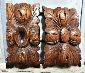 Two gothic rosette rosace ornament furniture Antique french salvaged carving