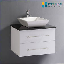 Bathroom Vanity White Gloss Wall Hung Square Ceramic Basin Stone Top 600 Compact