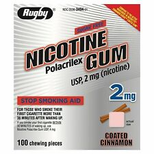 Rugby Nicotine Gum Coat Nicotine Polacrilex Stop Smoking Aid, 100 ct, 6 Pack