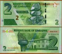 Zimbabwe Zimbabue 2 Dollars 2016 Pick 99 UNC