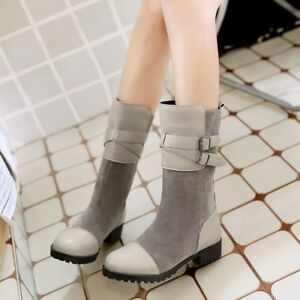 Womens Buckle Strap Fur Lined Warm Combat Faux Suede Block Heel Mid Calf Boots