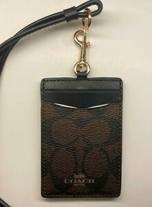 Coach Badge ID Lanyard Holder in Signature Canvas Brown NWT
