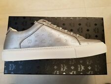 1d747ef741ff  450 Mens MCM Metallic Logo Stamped Low-Top Leather Sneakers Silver US 9 EU  42