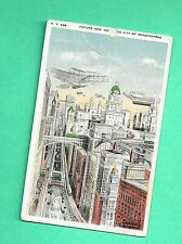 Future NY Postcard Dirigible Tri Plane Airplanes Train Street Car Moses King