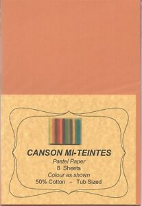 """A pack of 8 sheets """"CANSON MI-TEINTES PASTEL PAPER"""" Colour """" B U F F """" ."""