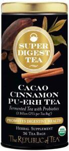 Super Digest Cacao Cinnamon Pu-Erh Tea by The Republic of Tea, 36 tea bag