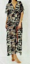 Green Camouflage Print Long Chiffon Kaftan Size 12/14 Beach Coverup Dress Sarong