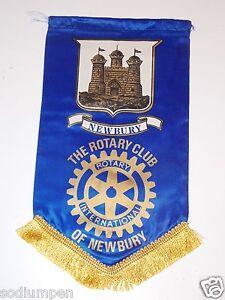 Vintage Rotary International Club of NEWBURRY UK Banner Flag Castle Rare