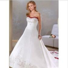 Strapless Crystals Chapel-Train A Line Wedding Dress White And Red Bridal Gown