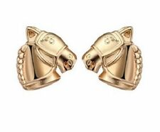 GOLD PLATED HORSE HEAD STUD EARRINGS