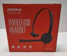 MPOW - Wired USB Headset - Single Side USB Headset - Black - Model BH323A