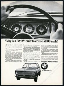 1968 BMW 2002 car & speedometer photo Cruise At 100 MPH vintage print ad