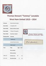 TOMMY LONSDALE WEST HAM UNITED 1913-1914 EXTREMELY RARE ORIGINAL SIGNED CUTTING