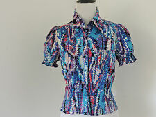 BEBE MULTI COTTON SHORT SLEEVE SMOCKED DETAIL BUTTON UP TOP SZ S