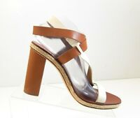 Tory Burch Women White Brown Leather Pumps Strappy Sandals Heels Shoes Size 10 M