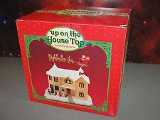 CHRISTMAS HOLIDAY VILLAGE HOUSE HOME ANIMATED MUSICAL SPINNING SANTA SLEIGH BOX