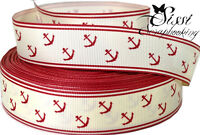 RUBAN GROS GRAIN ANCRE ANCHOR ROUGE MARINE BLANC COUTURE 23mm PLAGE MER VACANCE