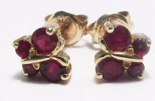 100% Genuine Vintage 9k Solid Yellow Gold 0.52cts Ruby Butteryfly Stud Earrings