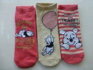 DISNEY WINNIE THE POOH Shoe Liner Socks 3 Pack Girls Ladies 4-8 POOH