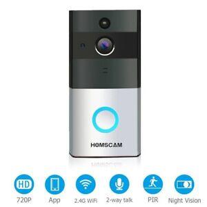 HOMSCAM Video Doorbell Wi-fi Enabled Wireless Door Bells with Two-Way Audio
