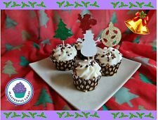 Christmas Design Low Shed Glitter Cupcake Toppers