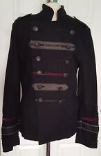 "River Island Size S (36-38"") Steampunk Military Goth Mens Jacket. Perfect Cond."