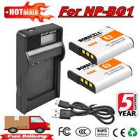 2X 1600mAh NP-BG1 Battery + LCD Charger For Sony Cyber-shot DSC-W220 DSC-H55 EG