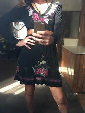 Johnny Was JW Los Angeles Jersey Embroidered Dress 100% Cotton 8-10-12 M