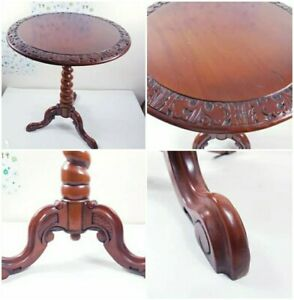 19th C Circular Inlaid Marquetry Side Table with Carved Rosewood (Rare)