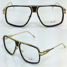 For Men Women Gold Matel Frame Square Oversized Clear Lens Glasses 426B Black