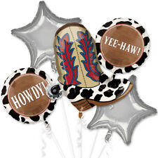 Cowboy Yeehaw Balloon Bouquet Western Party Decoration Supplies Wild Boot 5pc