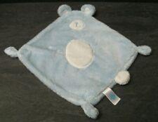 doudou plat ours bleu blanc pois tex baby