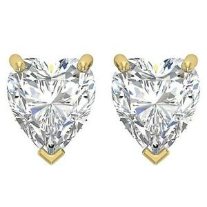 SI1 G 0.55 Ct Heart Cut Diamond Solitaire Studs Earrings 14K Solid Gold 3.61 mm