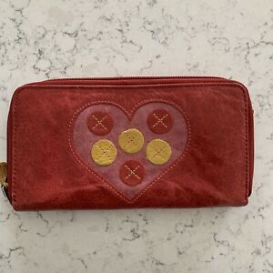 Fossil Zip Around Wallet Clutch Red Leather Heart Yellow Circles