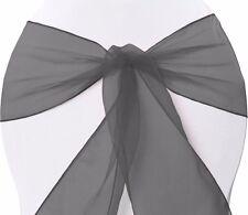 25 X ORGANZA BOWS CHAIR SASHES WEDDING ENGAGEMENT BLACK WHITE SILVER SEAT BOW