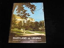 November 22, 1969 Maryland vs. Virginia Official College Football Program EX-MT
