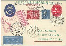 Sweden 1939 1st Pan Am flight to USA uprated stationery