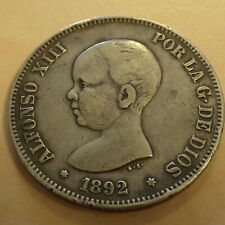 Spain 5 pesetas 1892 (92) PG-M silver 90% (25 g) TB+/F+/S+