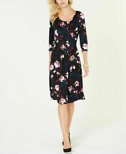 New $65 NY Collection Printed Fit Flare Floral Dress Peacoat Brucaria Petite XL