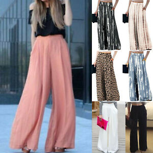 Women's Palazzo Wide Leg Elastic Waist Long Pants Casual Baggy Summer Trousers